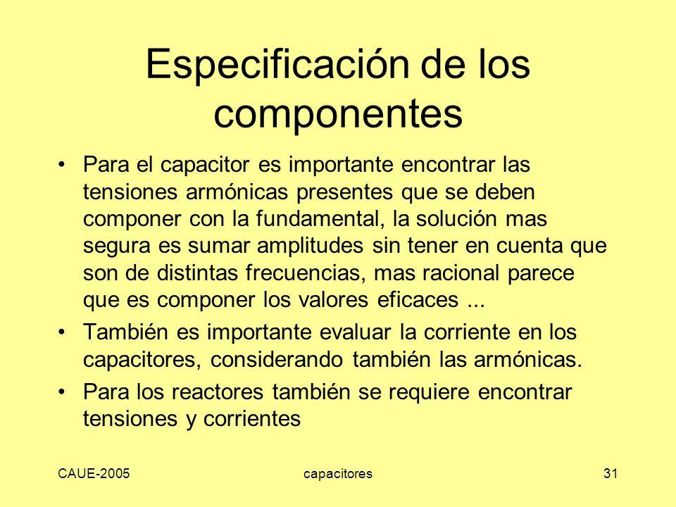 Especificación de los componentes