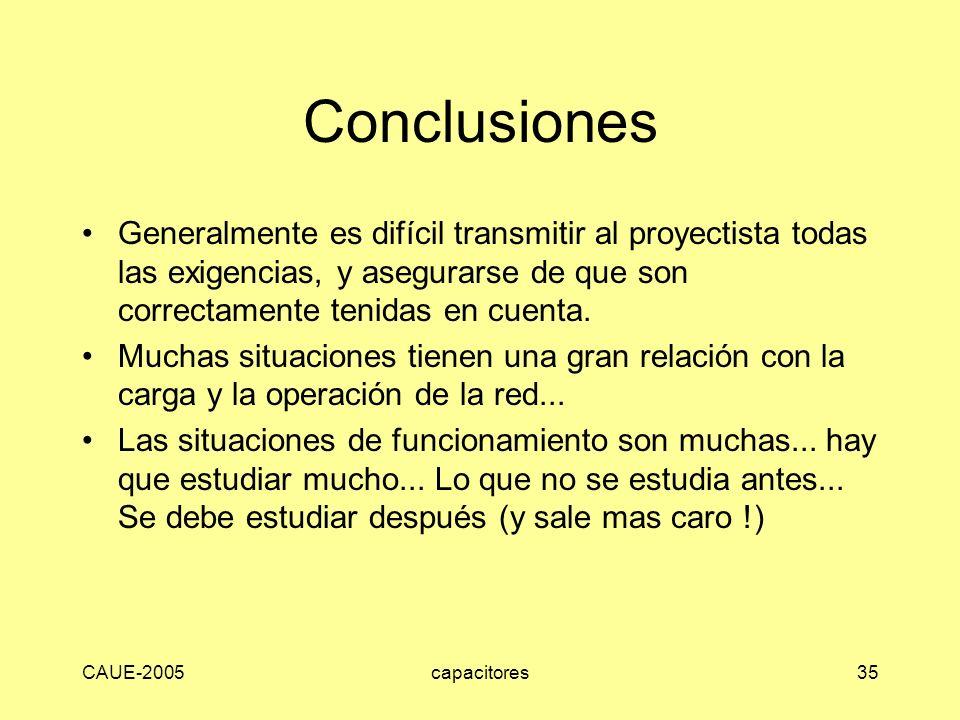 Conclusiones Generalmente es difícil transmitir al proyectista todas las exigencias, y asegurarse de que son correctamente tenidas en cuenta.