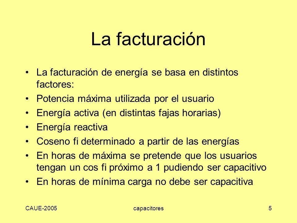 La facturación La facturación de energía se basa en distintos factores: Potencia máxima utilizada por el usuario.