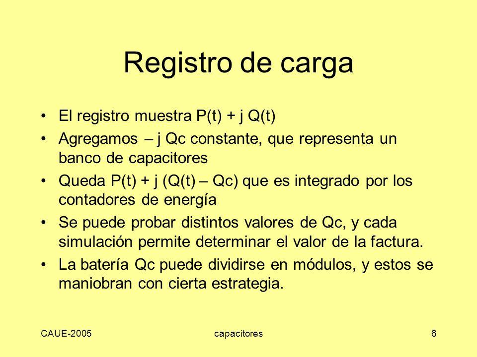 Registro de carga El registro muestra P(t) + j Q(t)