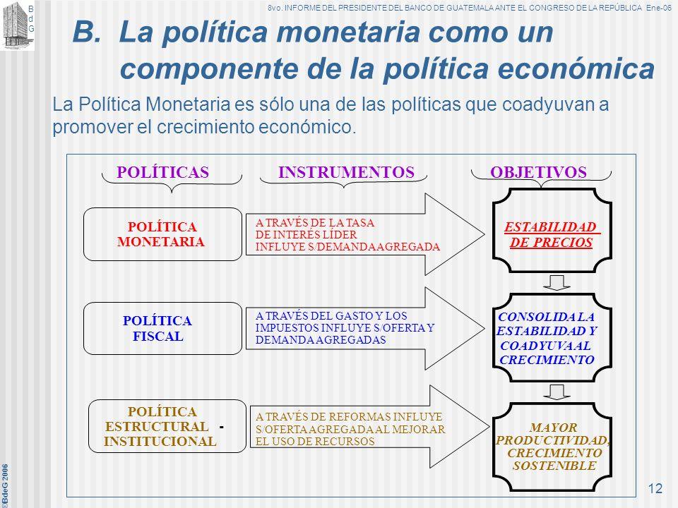 B. La política monetaria como un componente de la política económica