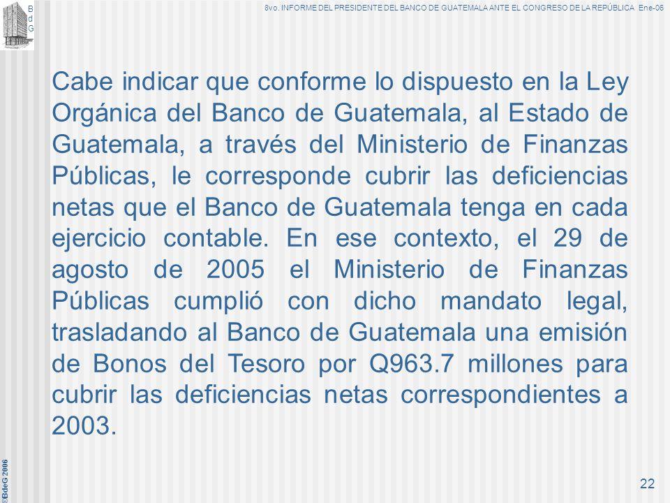 Cabe indicar que conforme lo dispuesto en la Ley Orgánica del Banco de Guatemala, al Estado de Guatemala, a través del Ministerio de Finanzas Públicas, le corresponde cubrir las deficiencias netas que el Banco de Guatemala tenga en cada ejercicio contable.