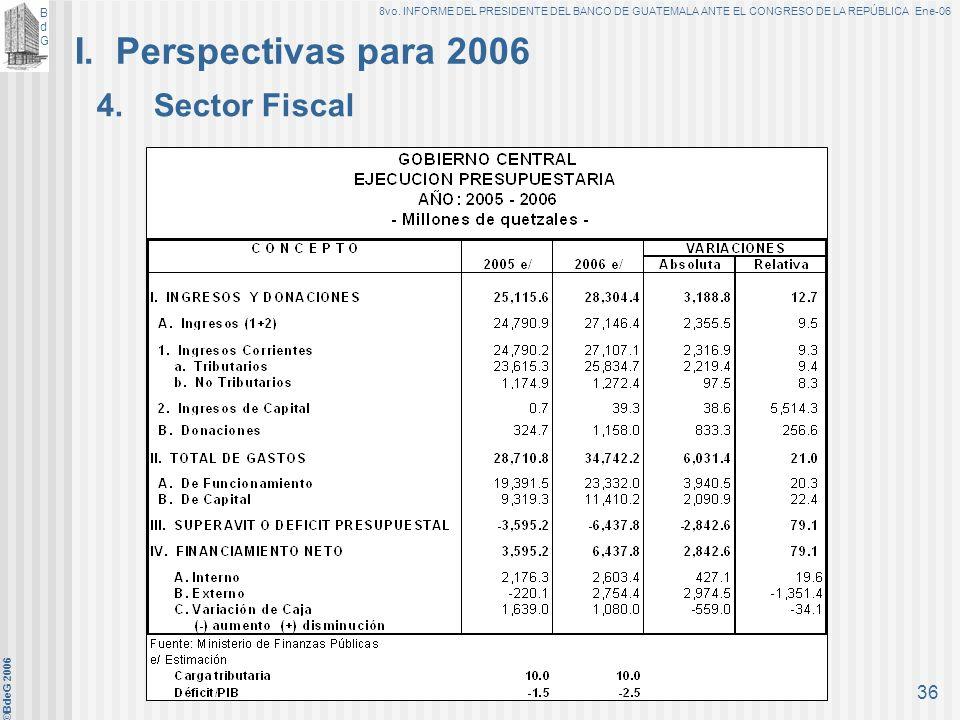 I. Perspectivas para 2006 4. Sector Fiscal