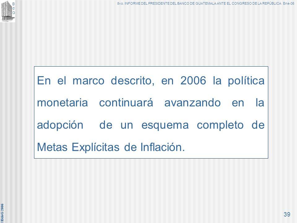 En el marco descrito, en 2006 la política monetaria continuará avanzando en la adopción de un esquema completo de Metas Explícitas de Inflación.