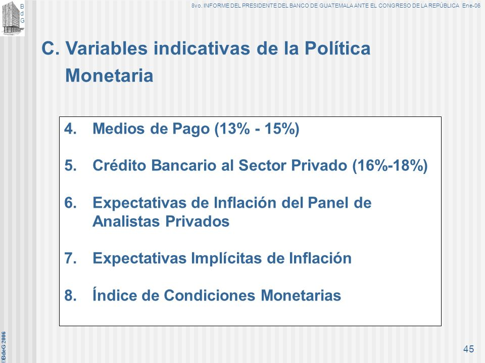 C. Variables indicativas de la Política Monetaria