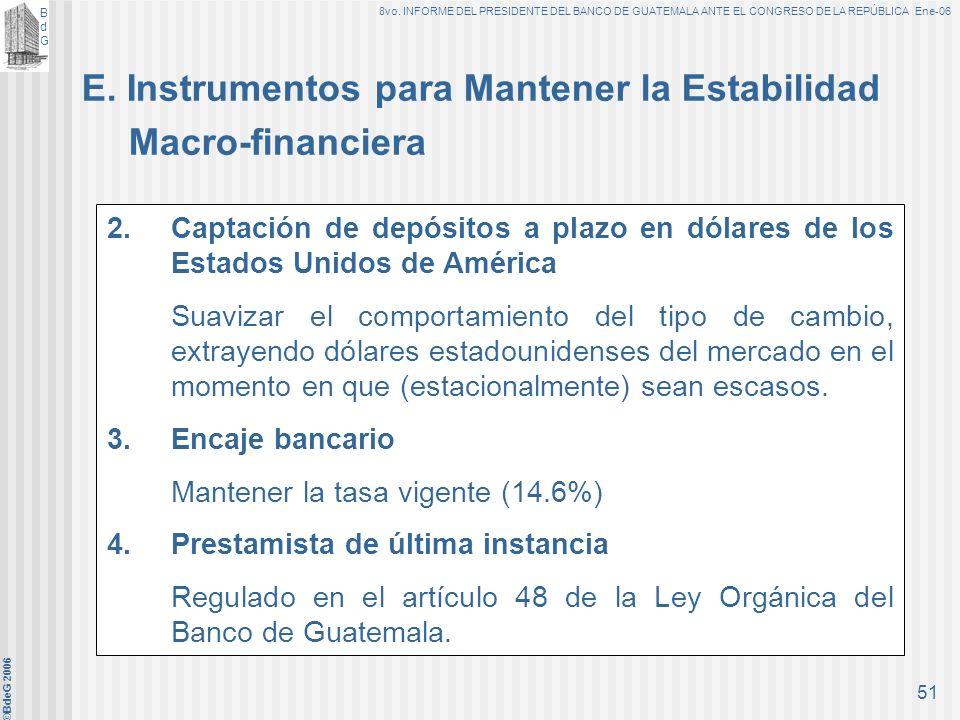 E. Instrumentos para Mantener la Estabilidad Macro-financiera