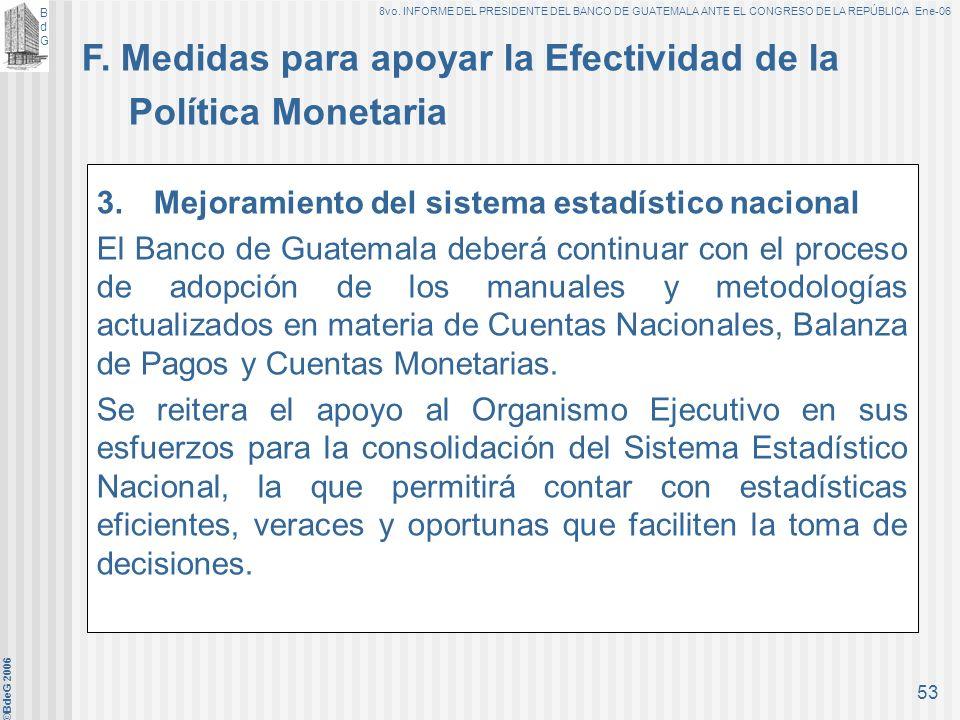 F. Medidas para apoyar la Efectividad de la Política Monetaria