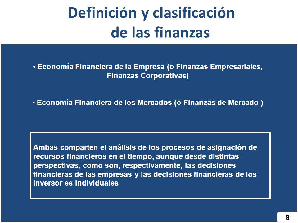 Definición y clasificación de las finanzas