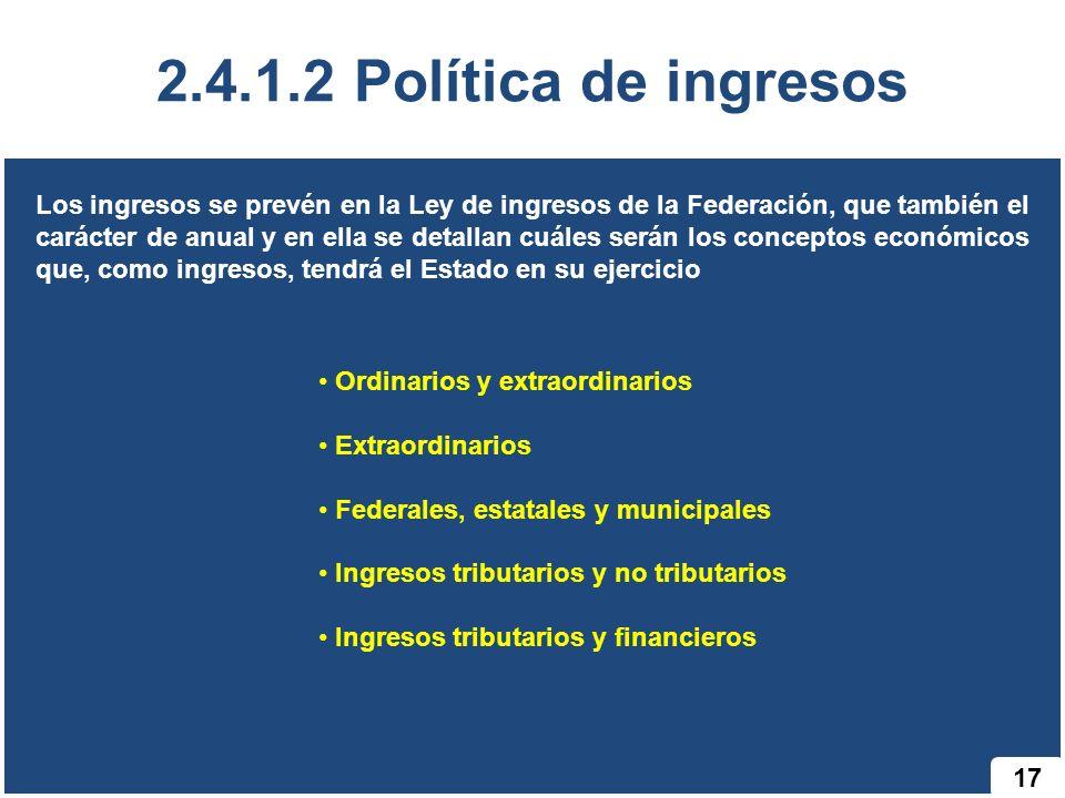 2.4.1.2 Política de ingresos