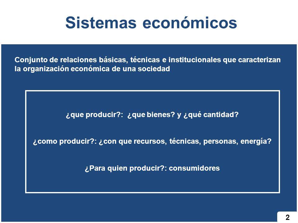 Sistemas económicos Conjunto de relaciones básicas, técnicas e institucionales que caracterizan la organización económica de una sociedad.
