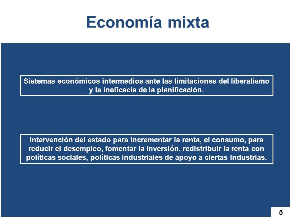 Economía mixta Sistemas económicos intermedios ante las limitaciones del liberalismo y la ineficacia de la planificación.