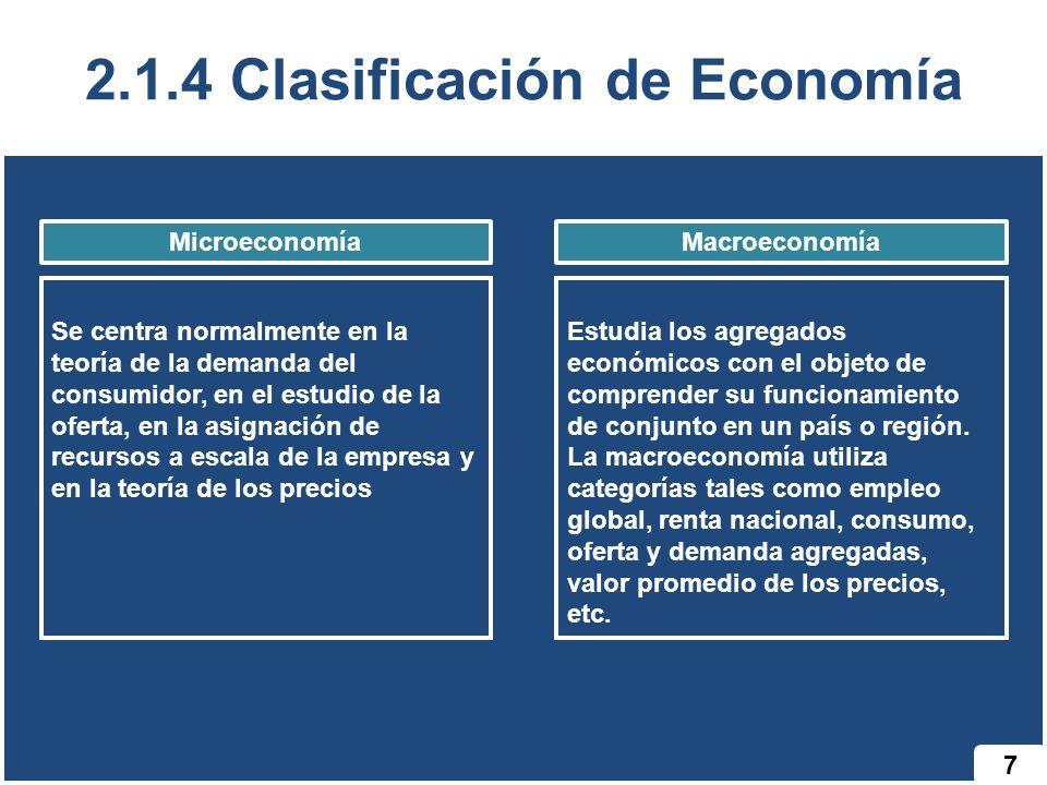 2.1.4 Clasificación de Economía