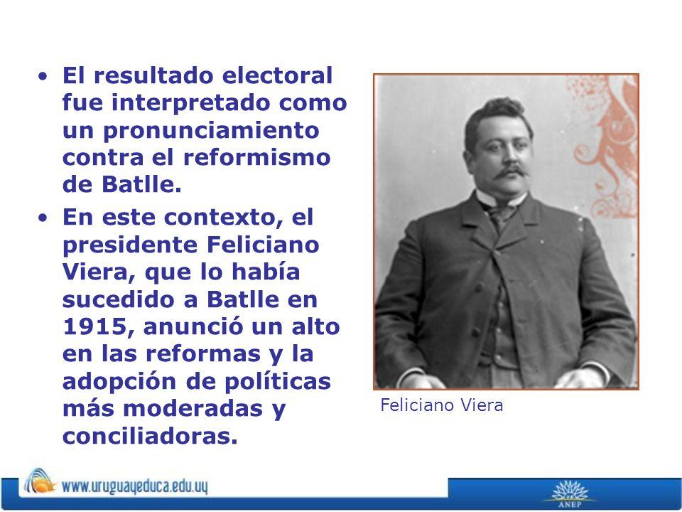 El resultado electoral fue interpretado como un pronunciamiento contra el reformismo de Batlle.