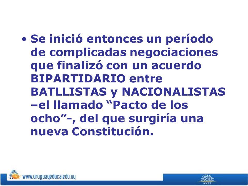 Se inició entonces un período de complicadas negociaciones que finalizó con un acuerdo BIPARTIDARIO entre BATLLISTAS y NACIONALISTAS –el llamado Pacto de los ocho -, del que surgiría una nueva Constitución.