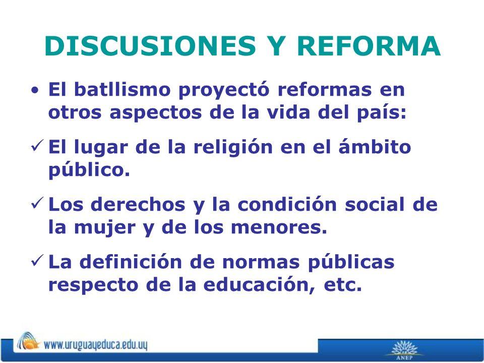 DISCUSIONES Y REFORMA El batllismo proyectó reformas en otros aspectos de la vida del país: El lugar de la religión en el ámbito público.