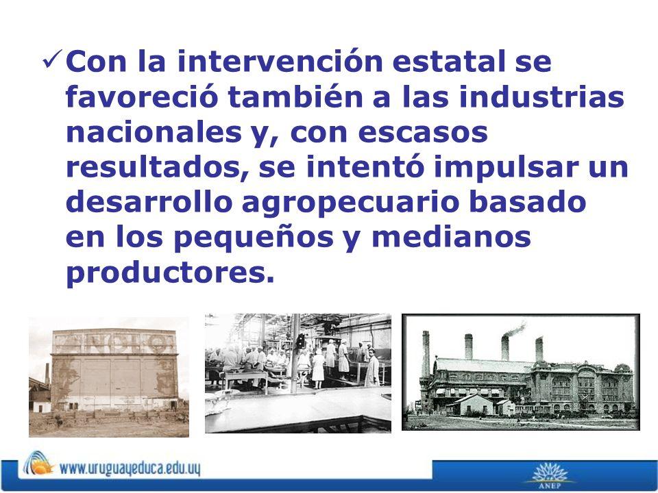 Con la intervención estatal se favoreció también a las industrias nacionales y, con escasos resultados, se intentó impulsar un desarrollo agropecuario basado en los pequeños y medianos productores.