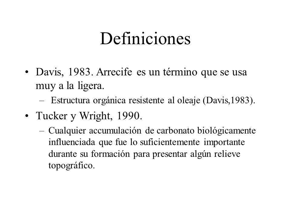 Definiciones Davis, 1983. Arrecife es un término que se usa muy a la ligera. Estructura orgánica resistente al oleaje (Davis,1983).