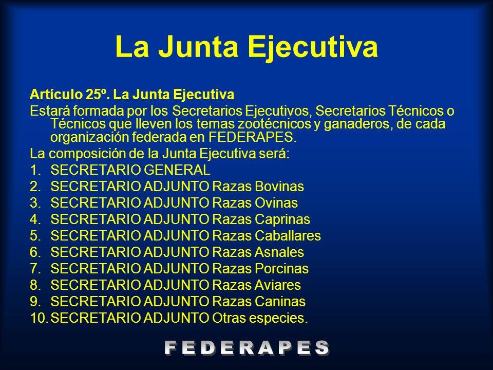 La Junta Ejecutiva FEDERAPES Artículo 25º. La Junta Ejecutiva