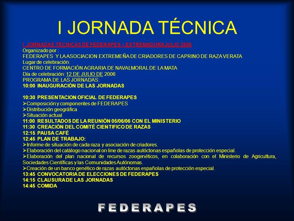 I JORNADA TÉCNICA FEDERAPES