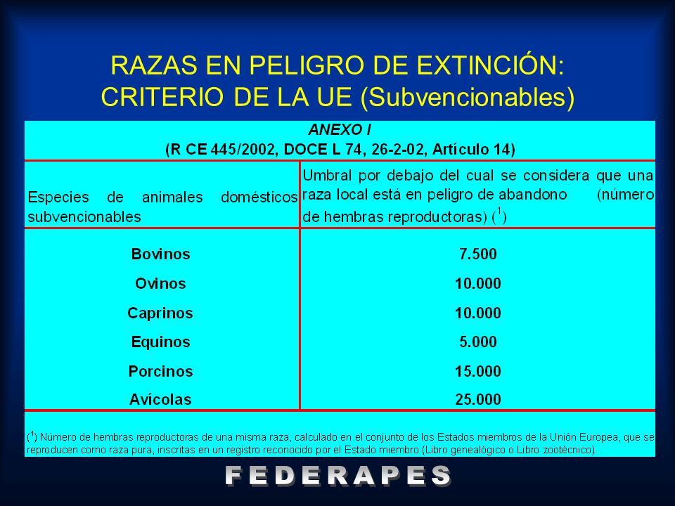 RAZAS EN PELIGRO DE EXTINCIÓN: CRITERIO DE LA UE (Subvencionables)