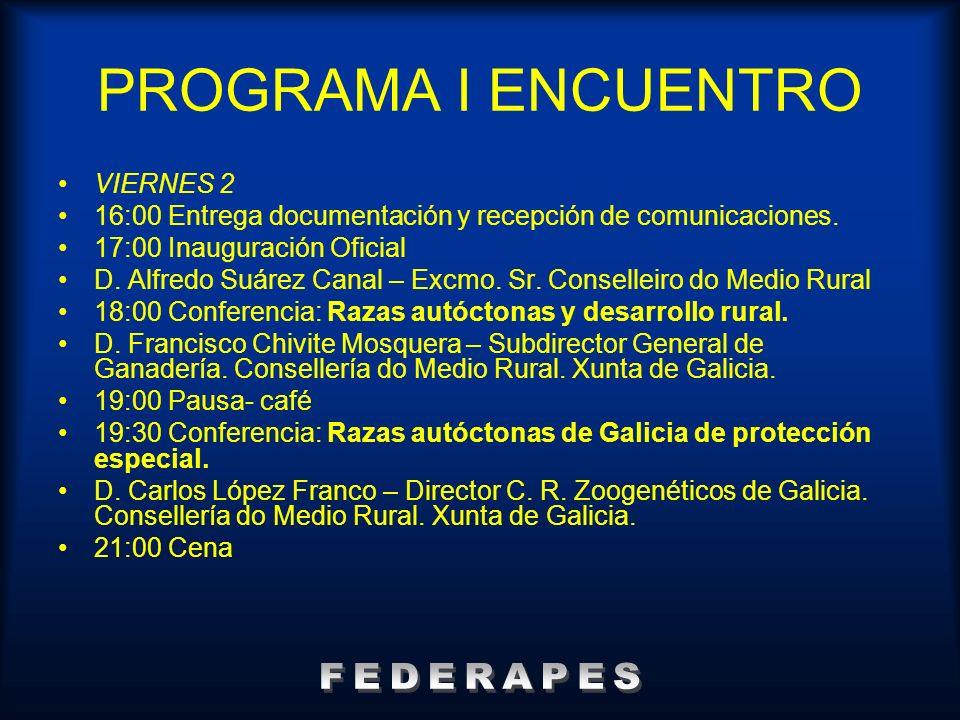 PROGRAMA I ENCUENTRO FEDERAPES VIERNES 2
