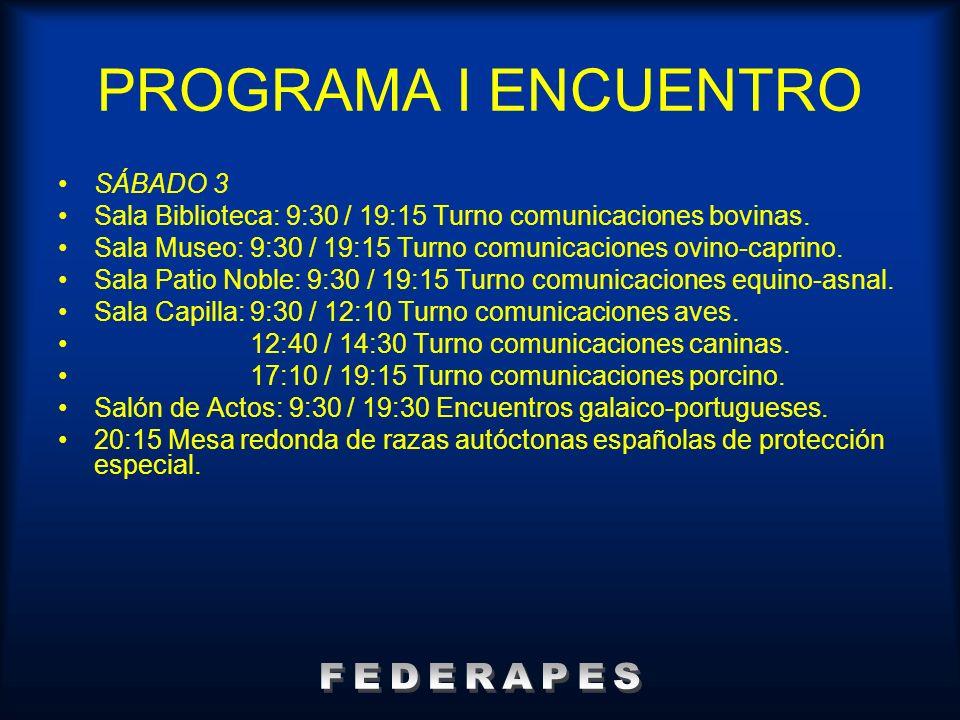 PROGRAMA I ENCUENTRO FEDERAPES SÁBADO 3