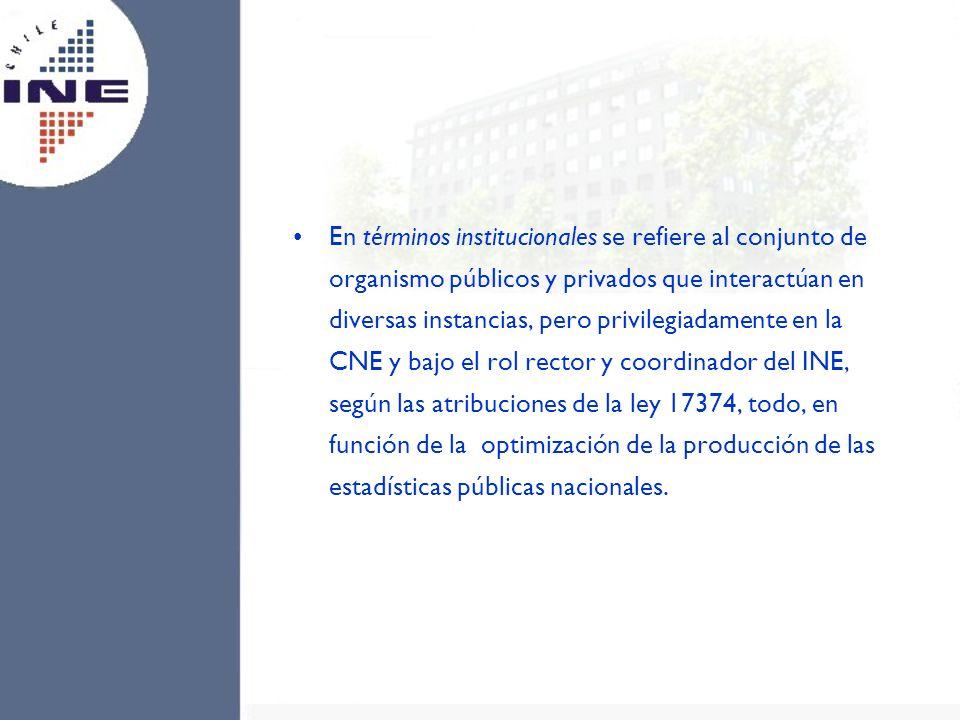 En términos institucionales se refiere al conjunto de organismo públicos y privados que interactúan en diversas instancias, pero privilegiadamente en la CNE y bajo el rol rector y coordinador del INE, según las atribuciones de la ley 17374, todo, en función de la optimización de la producción de las estadísticas públicas nacionales.