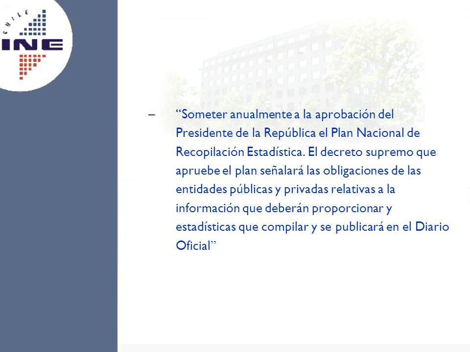 Someter anualmente a la aprobación del Presidente de la República el Plan Nacional de Recopilación Estadística.
