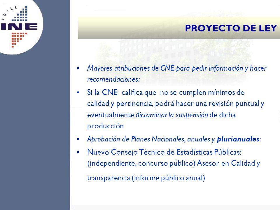 PROYECTO DE LEY Mayores atribuciones de CNE para pedir información y hacer recomendaciones: