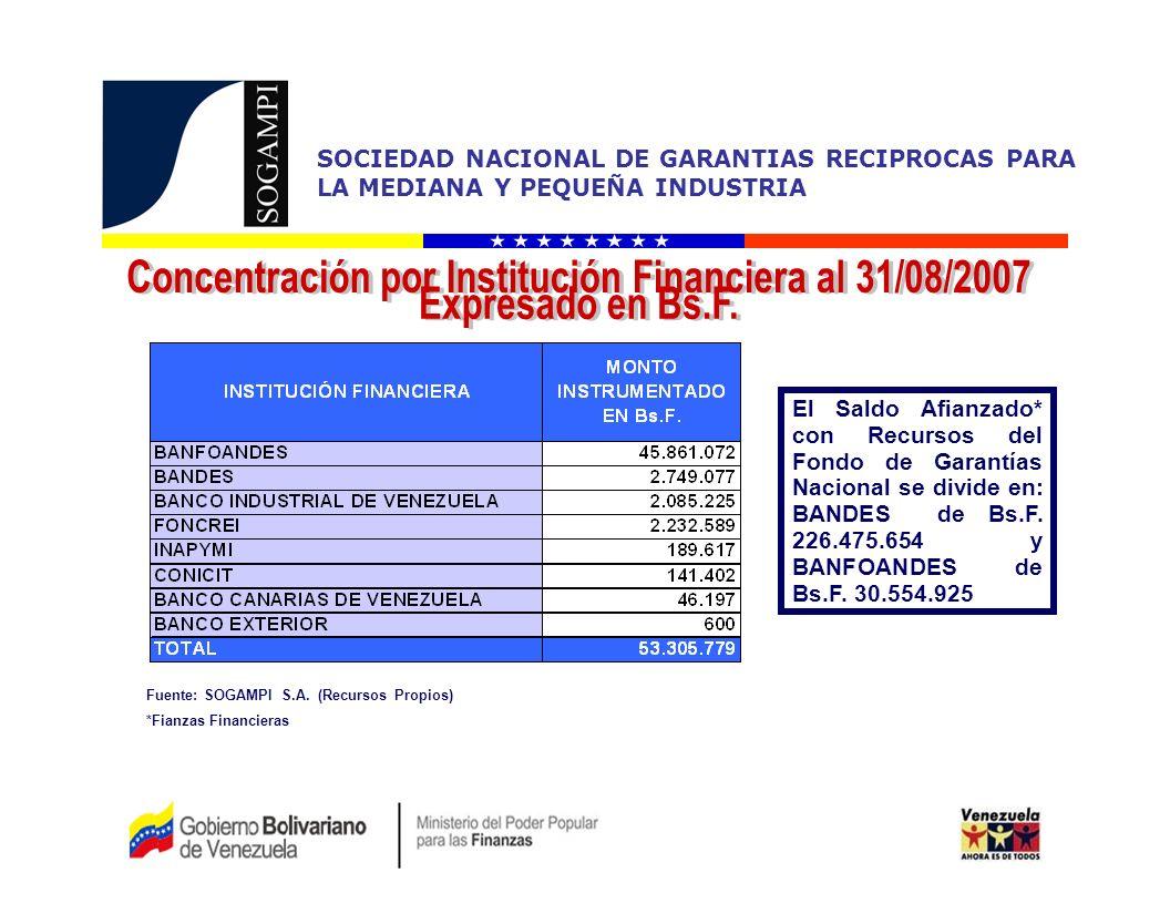 Concentración por Institución Financiera al 31/08/2007