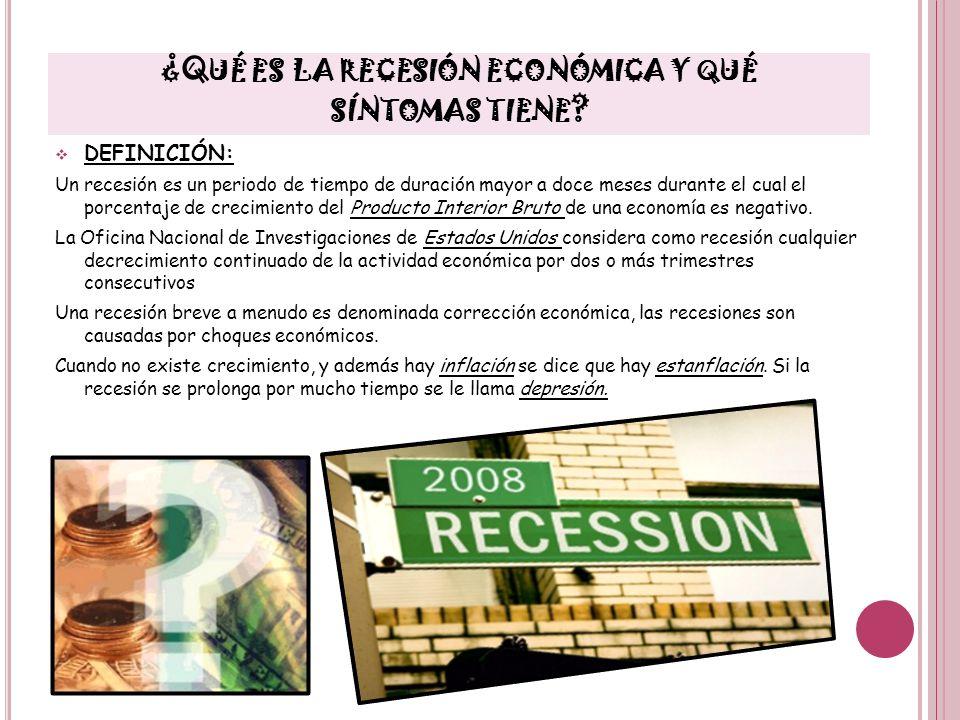 ¿Qué es la recesión económica y qué síntomas tiene