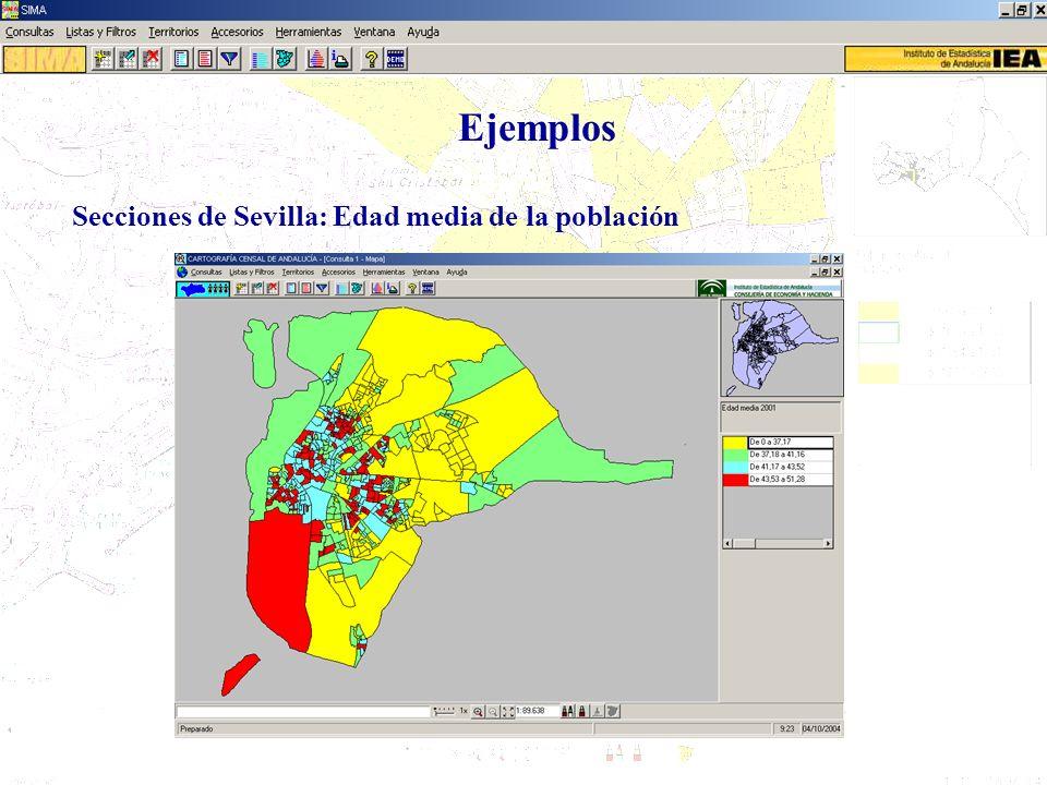 Ejemplos Secciones de Sevilla: Edad media de la población