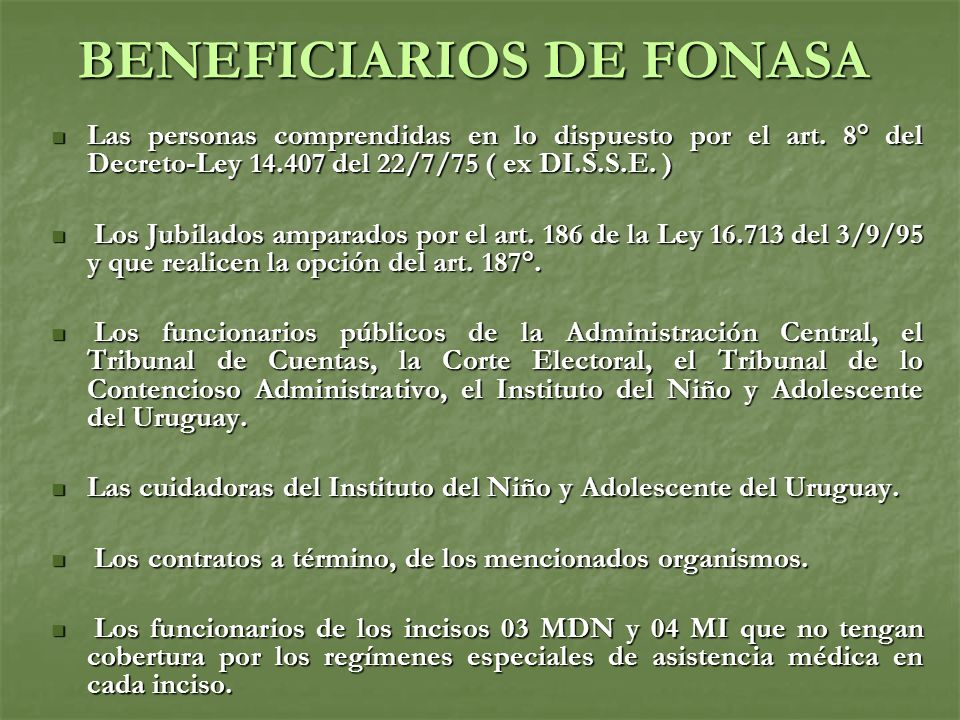 BENEFICIARIOS DE FONASA