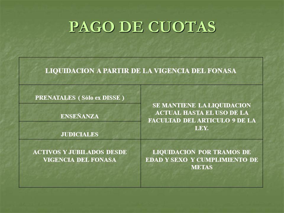 PAGO DE CUOTAS LIQUIDACION A PARTIR DE LA VIGENCIA DEL FONASA