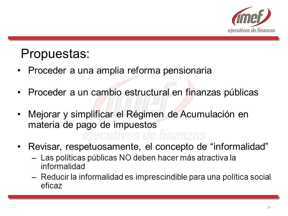 Propuestas: Proceder a una amplia reforma pensionaria