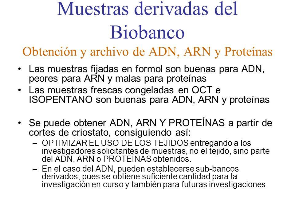 Muestras derivadas del Biobanco Obtención y archivo de ADN, ARN y Proteínas