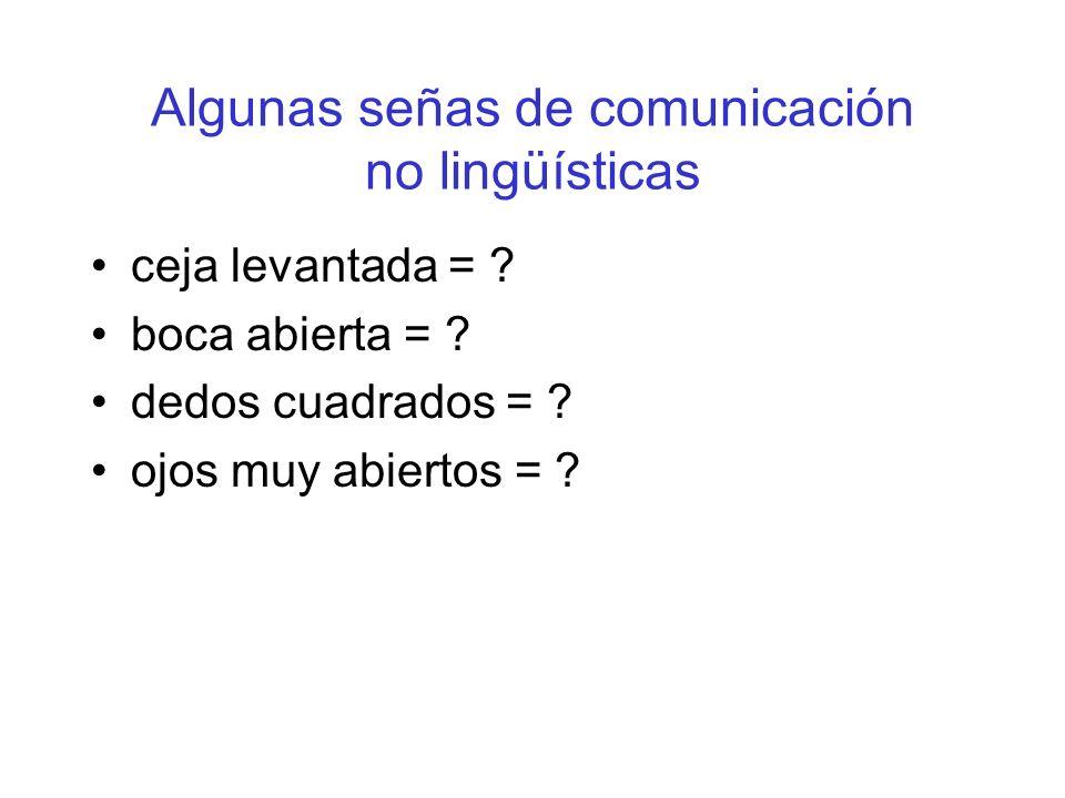 Algunas señas de comunicación no lingüísticas