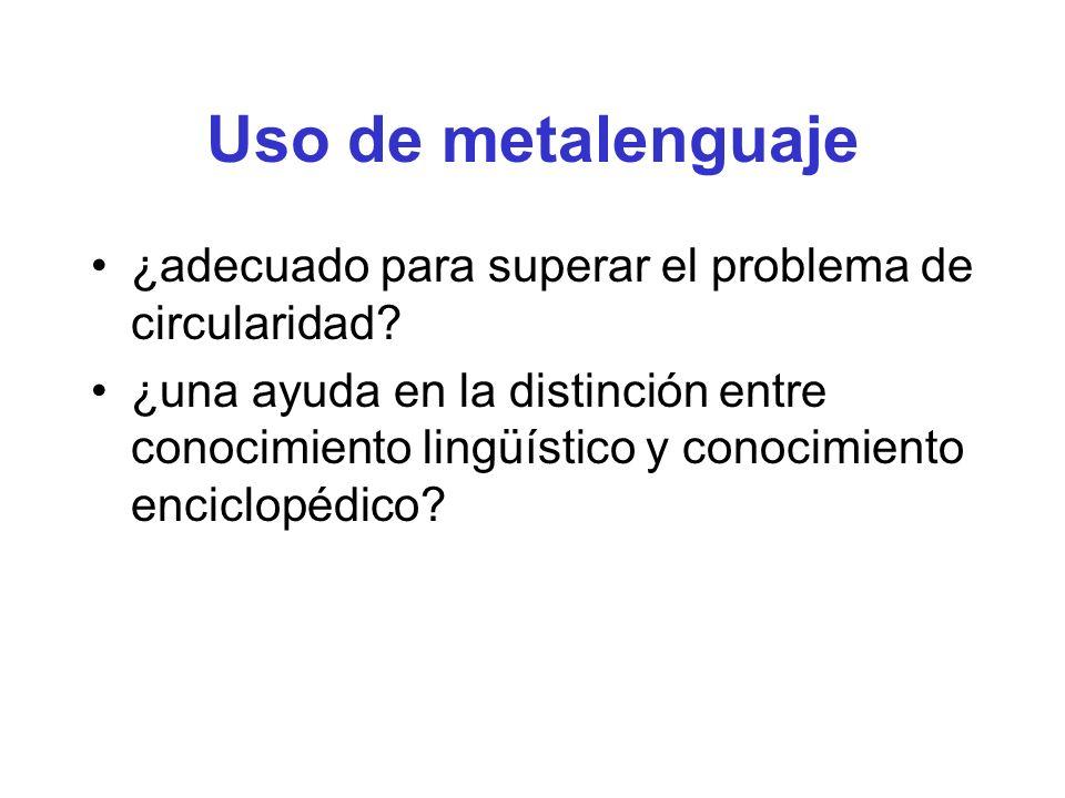 Uso de metalenguaje ¿adecuado para superar el problema de circularidad