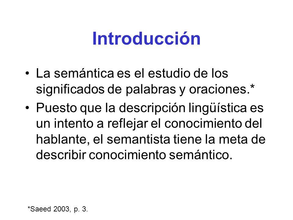 Introducción La semántica es el estudio de los significados de palabras y oraciones.*