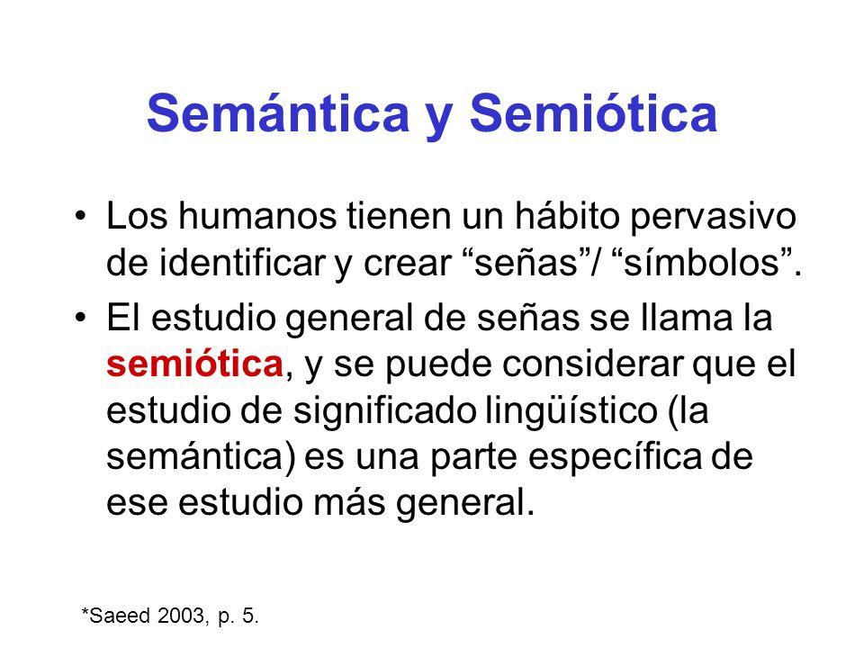 Semántica y Semiótica Los humanos tienen un hábito pervasivo de identificar y crear señas / símbolos .