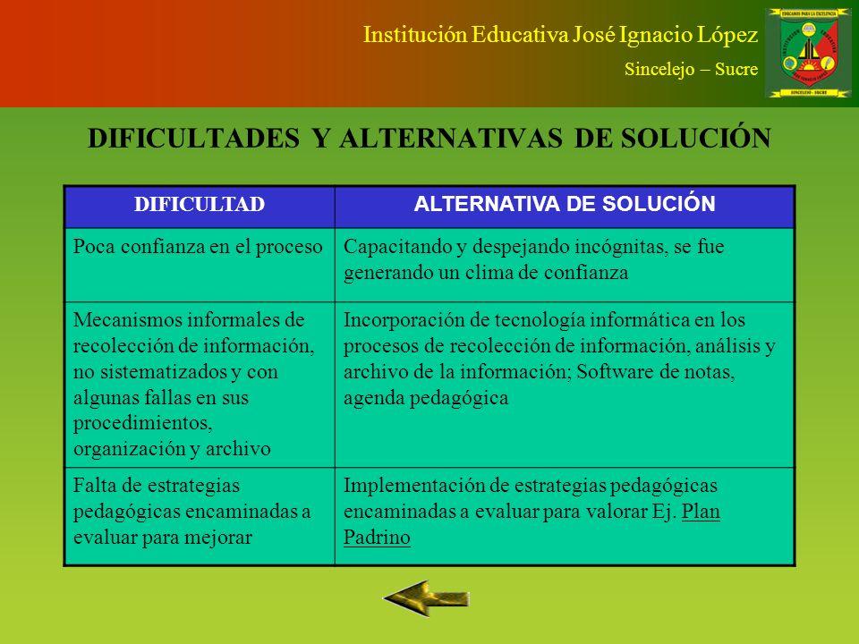 DIFICULTADES Y ALTERNATIVAS DE SOLUCIÓN