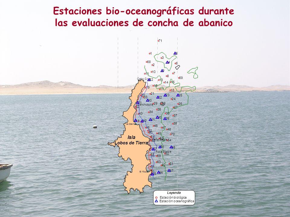 Estaciones bio-oceanográficas durante las evaluaciones de concha de abanico