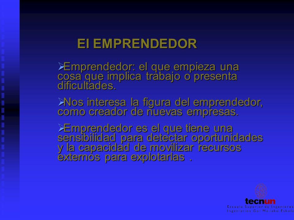 El EMPRENDEDOR Emprendedor: el que empieza una cosa que implica trabajo o presenta dificultades.