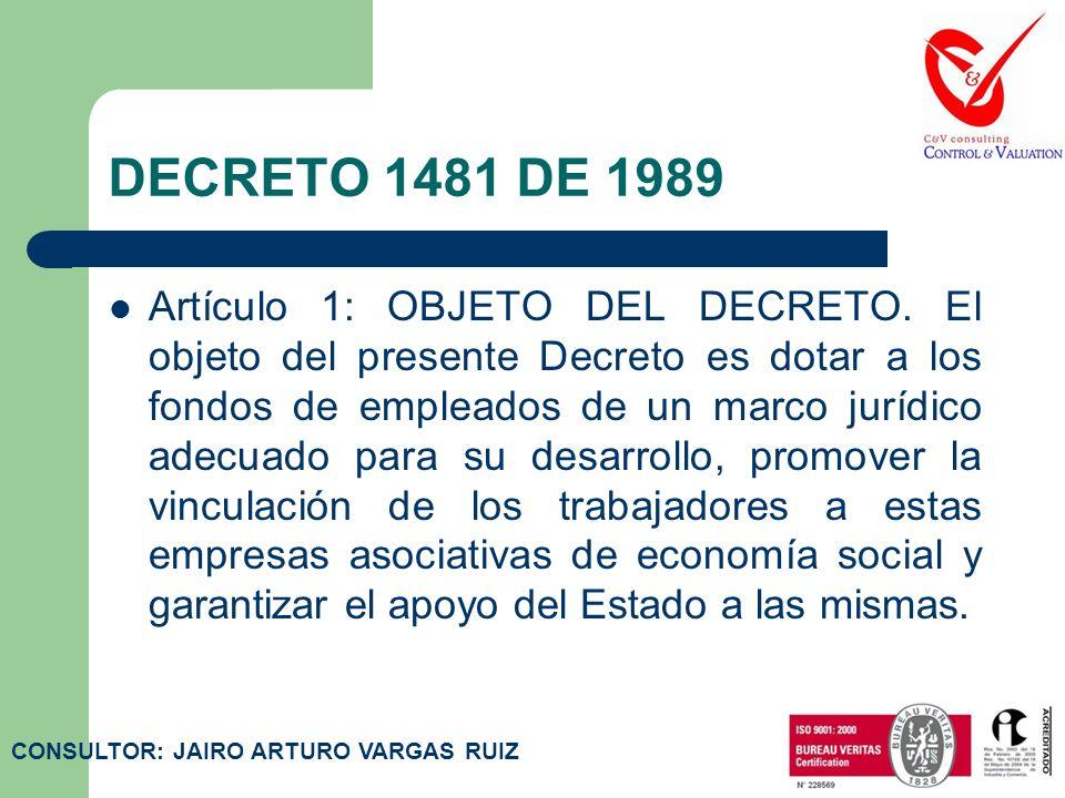 DECRETO 1481 DE 1989