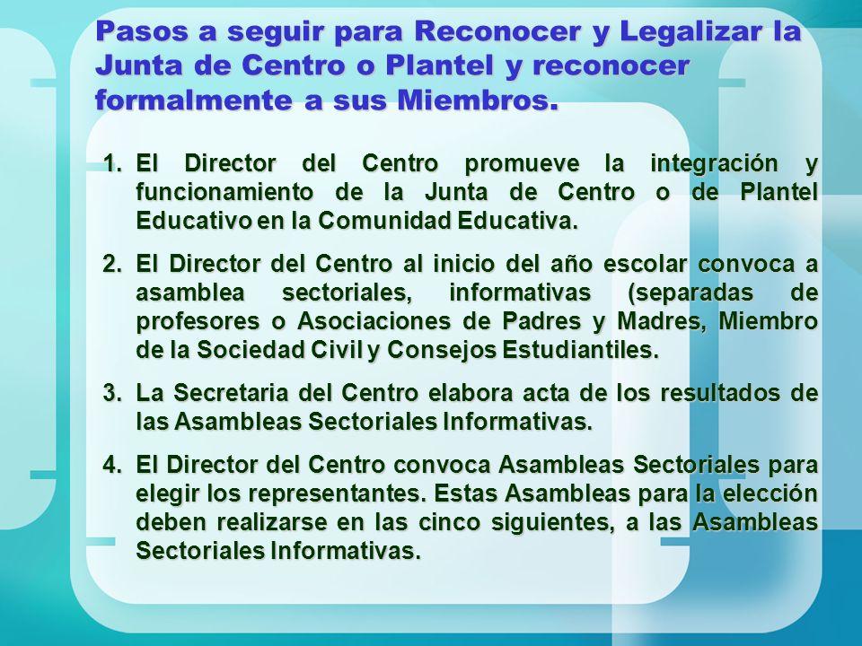 Pasos a seguir para Reconocer y Legalizar la Junta de Centro o Plantel y reconocer formalmente a sus Miembros.
