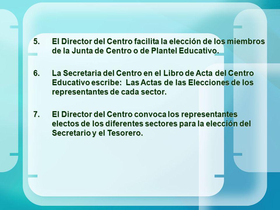 El Director del Centro facilita la elección de los miembros de la Junta de Centro o de Plantel Educativo.