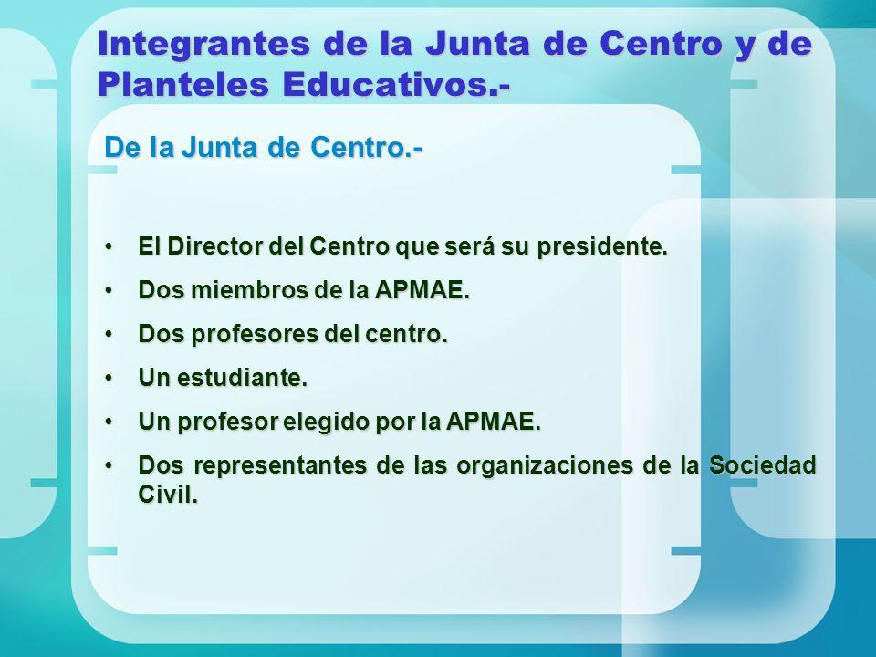 Integrantes de la Junta de Centro y de Planteles Educativos.-