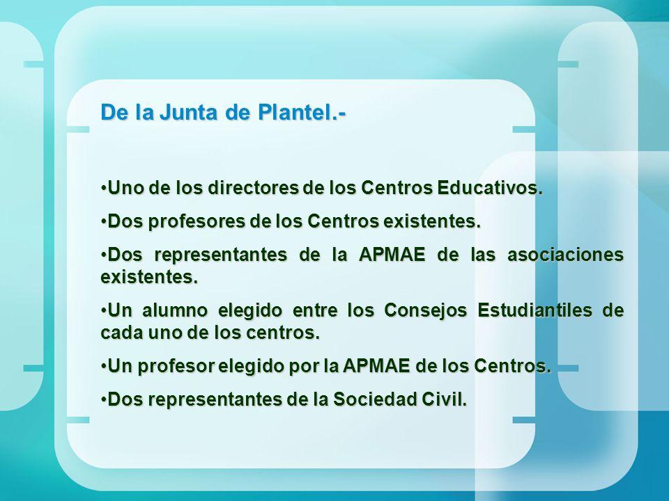 De la Junta de Plantel.- Uno de los directores de los Centros Educativos. Dos profesores de los Centros existentes.
