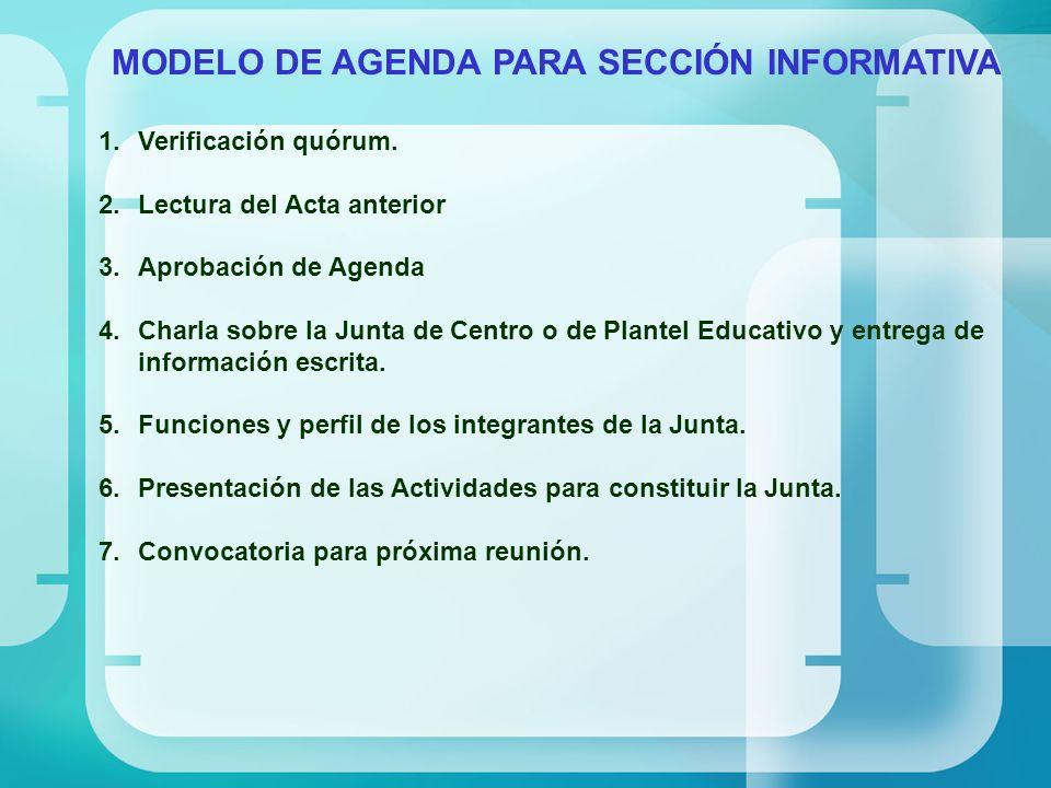 MODELO DE AGENDA PARA SECCIÓN INFORMATIVA