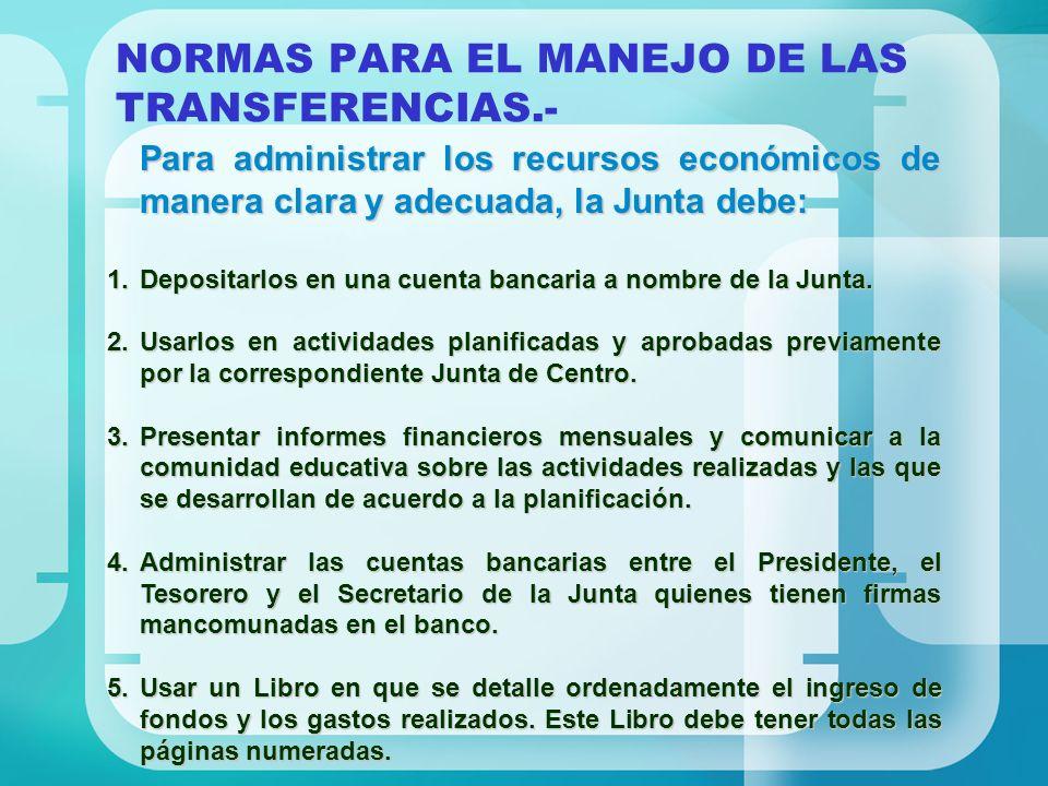 NORMAS PARA EL MANEJO DE LAS TRANSFERENCIAS.-